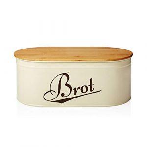 Lumaland Corbeille à Pain de Cuisine en métal avec Couvercle en Bambou, Ovale, ca. 36 x 20 x 13,8 cm Beige (Lumaland Vertriebs GmbH, neuf)