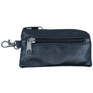 Porte Monnaie Plat Noir en Cuir de Vachette véritable avec Porte clé avec 2 Poches Zip pour Poche de Pantalon et Veste Homme (ceinture-et-moi, neuf)
