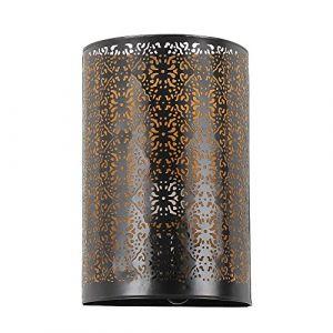 albena shop 71-5315 Kavita applique orientale H 30 cm/L 19 cm style marocain métal noir/intérieur or (albena shop®, neuf)
