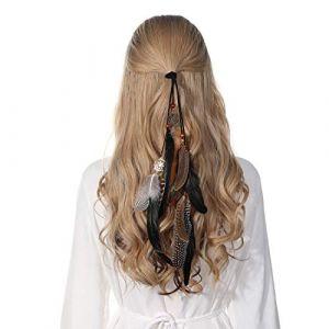 Bandeau en plumes coiffe hippie indienne - coiffes en plumes à gland Boho pour femmes Costume Festival chapeaux (Noir) (anjerry, neuf)