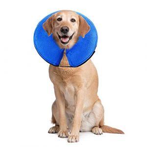 PET SPPTIES Collier Gonflable de Récupération Confortable Collerette de Protection pour Chien Chats, Ajustable, Lavable PS005 (S) (LIWEI COMPANY, neuf)