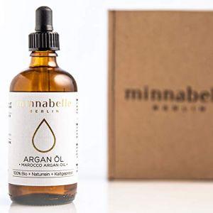 Huile d'Argan Bio 100ml pour les cheveux, peau & Visage, huile d'argan, huile d'argan 100% Pure & kaltgepresst original en le Maroc, anti-rides sérum anti-âge, seulement fraîcheur certifié bio Argan Noix (minnabelle Berlin GmbH, neuf)