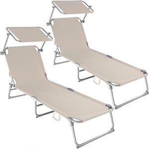 TecTake Chaise Longue Pliante Bain de Soleil avec Parasol Pare Soleil - diverses Couleurs et quantités au Choix - (2X Beige | No. 400691) (Made4Home SAS, neuf)