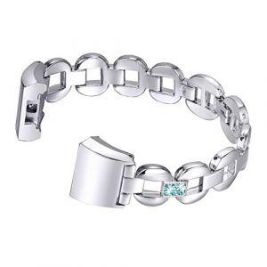 Bracelet pour Fitbit Charge 2 en Cuir,Bracelet Fitbit 2 Charge Homme Aottom®Bande de Remplacement Charge 2 Strap Sangle avec Métal Connecteurs Accessoires pour Fitbit Charge 2 (Aottom-FR, neuf)