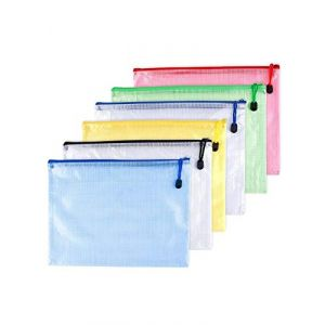 6pcs Chemise Paquet Portefeuille Pochette en PVC Zip Document Dossier /PVC School Office Magazine Document File Zippy Closure Folder Holder Bag-Noir,Bleu,Blanc,Juane,Vert,Rouge-A5 (MMY1980, neuf)
