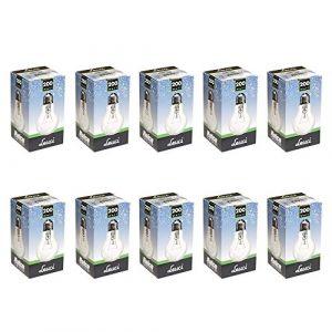 Leuci Lot de 10 ampoules à incandescence transparentes A55 E27 à intensité variable Blanc chaud, E27 200.00W 230.00V (ncc-design, neuf)