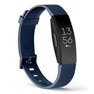 Amzpas Compatible pour Fitbit Inspire Bracelet & Fitbit Inspire HR Bracelet, Classique Bracelet Bande de Remplacement Compatible pour Fitbit Inspire HR(06 Bleu Marin,S) (SMXMY-CN, neuf)