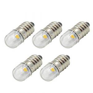 Ruiandsion Lot de 5 ampoules LED 3 V/6 V/12 V Culot E10 1 W Blanc chaud, 6V 0.48watts 6.00volts (Ruiandsion, neuf)