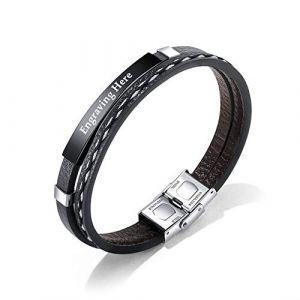 XiXi Bracelet Personnalisé Prénom ID Bracelet Acier Inoxydable PU Cuir Bracelet pour Homme Femme Gravure Cadeau pour Anniversaire La Saint Valentin (Noir) (XiXi Jewelry, neuf)