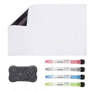 Tableau Blanc Magnétique A3+pour Frigo-AntiTaches,Tableau Mémo Aimanté pour Planning Semaine Cuisine et Notes de Bureau,Tableau d'écriture pour Enfants et Adultes Inclut 4 Stylo Marqueur et Effaceur (YumsurBasic, neuf)