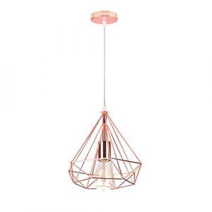 iDEGU Suspension Luminaire Vintage Lustre en Forme de Diamant en Métal Plafonnier Lampe Suspension pour Chambre Salon Restaurant - Diamètre 25cm (Or rose) (IDEGU, neuf)