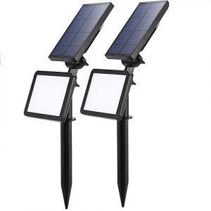LED Solaire Projecteur,Extérieur Solaire de Jardin Spot Lampe Solaire 48 LED lumière de Nuit sans Fil pour Noël, Jardin, Escalier Exterieur, Cour, Clôture, Patio (2 PCS) (Sumaote, neuf)