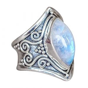 Bague antique de fiançailles avec des diamants naturels rubis naturels pour femmes éblouissantes (Argent3, 8) (lHAZA, neuf)