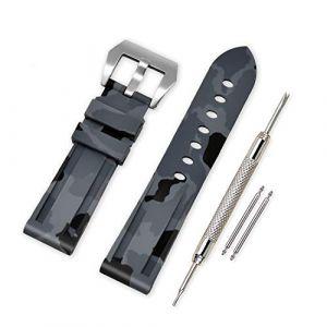 VINBAND Bracelet Montre Camo Remplacer Silicone Bracelet Montre - 20mm, 22mm, 24mm, 26mm Caoutchouc Montre Bracelet avec Acier Inoxydable Boucle for Panerai (20mm, Gray) (vinband direct, neuf)