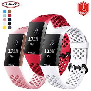 FunBand Bracelet Fitbit Charge 3, Bande en Silicone Souple Sangle de Remplacement Reglables Sport Accessorie pour Montre Connectée Fitbit Charge 3 (FunBand EU Direct Store, neuf)
