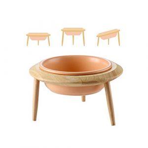 HCHLQLZ Orange Hauteur Réglable Porte-gamelle Surélevée Pet Gamelles pour Chien et Chat Gamelles Chien Chat Céramique avec Bambou Support en BoisGrand (Hetoco, neuf)