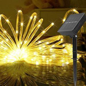 Solaire Ruban Lumineux,100 LED Lumières de Fil de Tube de Cuivre 8 Modes Decoration Lumineuse Solaire Extérieur pour Noël Jardin cour Chemin Clôture Arbre Backyard(blanc chaud) (ovker-eur, neuf)