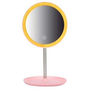Professionnel Miroir de Maquillage éclairé Miroir Portatif de Maquillage de Bureau de Led, Luminosité Réglable, Rotation Multi-angle, Avec Bouton Poussoir Marche/Arrêt(Rose) (Qkiss, neuf)