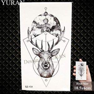 Nouveau pistolet noir hommes Fashoin autocollants de tatouage femmes corps bras tatouage temporaire AK fusil imperméable à l'eau tatouages ??tireur d'élite transférable [GSZ131] (WolfRule EU, neuf)