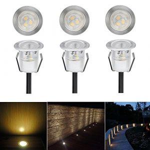 6 LED Spot Encastrable Extérieur - Mini spot encastré de Ø30mm Eclairage Encastrables Extérieur pour Terrasse Enterre, IP67 Etanche DC12V Lumière Moderne (Blanc Chaud) (CHENXU, neuf)