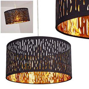 Suspension Liared en métal nickel mat et tissu noir/or, lampe pendante moderne ronde pour salon, chambre, salle à manger (hofstein, neuf)