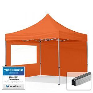 TOOLPORT Tente Pliante 3x3 m - 2 côtés Aluminium Barnum Chapiteau Pliant Tonnelle Stand Paddock Réception Abri PES300 Orange (INTENT24, neuf)