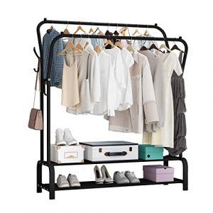 UDEAR Porte Vêtement sur Pied Cintre Tiges Doubles Chambre multifonctionnelle Portant à Vêtements, Double Couche ? 8 Crochets ? Noir (UDEAR ZHUJIA, neuf)