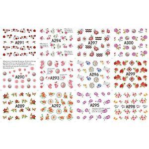 RXBGPZZJT Autocollant ongle 12 Feuilles Fleur Papillon Nail Art Décorations Autocollant Eau Stickers Ongles Autocollant Art Transfert Fleuret Manucure Outils Floral (wangzubang, neuf)