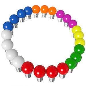 Lot 24x Ampoules Led B22 1W Guirlande Rouge, Jaune, Verte, Orange, Rose, Bleu, Blanc Incassable (24x Rouge jaune vert bleu orange rose blanc) (Rêvenergie, neuf)