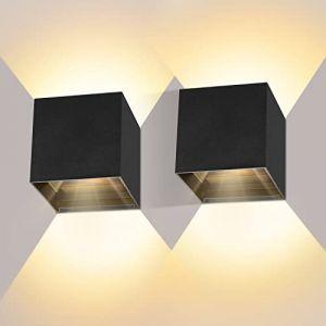 LEDMO Applique murale LED 12W 2 pièces étanche IP65 avec angle d'éclairage réglable Blanc chaud 2800-3000 K (ezon europe, neuf)