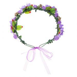 Beaupretty Bandeau Floral Mariage Boho Fleur Couronne Couronne Casque Guirlande avec Ruban Réglable pour Festival de Fête de Cérémonie de Mariage (Violet) (Waterzke, neuf)
