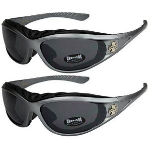 Choppers - Lot de 2 paires de lunettes de soleil avec rembourrage claires femmes hommes - 1x Modèle 02 (noir / pratiquement transparente) et 1x Modèle 04 (argenté / teinte noir) - Modèle 02 + 04 - vcPgqVy
