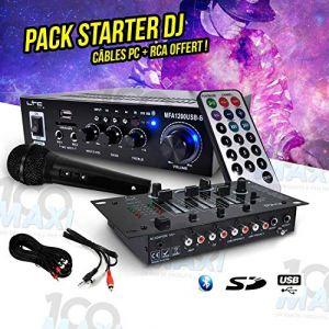 Pack Sono DJ PA Ampli 100W USB/SD/BT + Micro + Table de mixage 3 voies/5 entrées + Câbles (100MAXI, neuf)