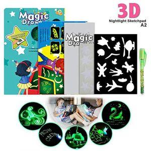 Magique Lumineuse Planche à Dessin Tableau d'écriture lumineux fluorescent Dessine avec de la lumière et développe des jouets éducatifs pour les enfants(A5 17.5 * 1.5 * 24.3cm) (va8.domain, neuf)