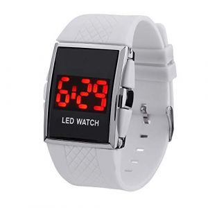 Montre LED Bande de silicone LED Digital Date Calendar Sportif Electronic Unisexe Montre-bracelet (Color : White) (AiSiWeiDianZi, neuf)
