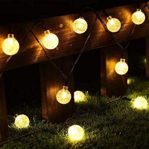 CMYK Guirlande lumineuse à 30LED à énergie solaire avec boule de cristal Housses, ambiance d'éclairage, idéal pour une utilisation en extérieur en terrasse, allée, jardin, utilisation en intérieur en Parti, chambre à coucher Décoration (Blanc chaud) (RUN