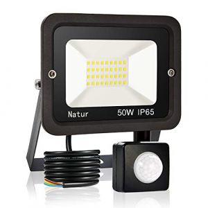 50W Projecteur LED détecteur de mouvement, Blanc Froid 6000K spot led exterieur avec detecteur IP65 lampe de sécurité idéal pour éclairage public, garage, couloir, jardin[Classe énergétique A++] (Bapro, neuf)