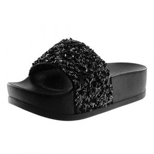 Angkorly - Chaussure Mode Mule Sandale Slip-on Claquettes Plateforme Femme Strass Diamant Brillant Talon Plateforme 4.5 CM - Noir 3 - BY018-5 T 39 (Angkorly, neuf)
