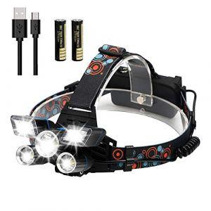 POWERGIANT Lampe Frontale LED Puissante, Lampe Torche 9 Modes USB Rechargeable, IPX4 Étanche Lampe Frontale pour Vélo, Randonnée, Camping, Course à Pied, Pêche (Big Vantage FR, neuf)