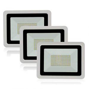 Lot de 3 Projecteur Led Exterieur 10W Blanc Froid 6500K Éclairage de Sécurité 900LM Projecteur Étanche IP68 Lumières Extérieures pour Jardin Garage Terrasse Entrée (wctebay, neuf)