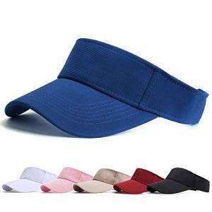 Visiere Casquette Femme - Casquette Golf, Visières Casquette de Soleil Réglable Homme Sport Hat pour Golf Cyclisme Pêche Tennis Running Vetement Golf (Bleu) (BLURBE DIRECT, neuf)