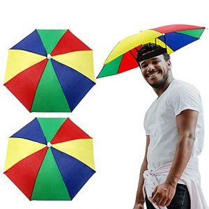 VINFUTUR 2pcs Chapeau Parapluie de Tête Casquette Parasol Chapeau de Pêche Protection UV Anti-Soleil pour Les Femmes et Homme Golf, Plage, Randonnée, Jardinage (HUAXINXING, neuf)