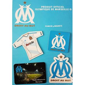 OLYMPIQUE DE MARSEILLE Planche de 4 Magnets Om - Blason - Maillot - Stade Velodrome - Collection Officielle Football Ligue 1 (MISTERLOWCOST, neuf)
