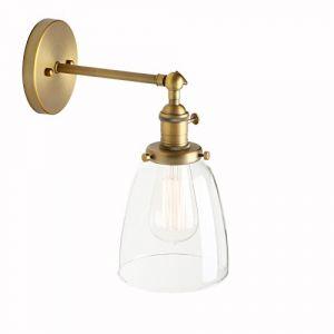 Pathson Réglable Applique Verre Cloche Abat-jour Lampe Rétro Industrial Applique Murale Rétro Eclairage (Pathson (Europe), neuf)