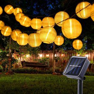 BrizLabs Guirlande Solaire Extérieure Lanterne, 6M 30 LED Guirlande Lumineuse Lampion Blanc Chaud 8 Modes Étanche Lampe Jardin Solaire Décorative pour Terrasse, Balcon, Mariage, Fête, Noël, Patio (Vegalife-EU, neuf)