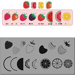 Modèle de plaque d'estampage en acier inoxydable Fruit Mer Poisson Poisson Halloween Modèle Outil à ongles DIY (guizhoubotingjianzhuan, neuf)