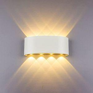 HYDONG Appliques Murales Interieur LED Lampe 8w étanche Moderne Applique Murale en Aluminium Blanc pour Chambre Maison Couloir Salon (Blanc Chaud) (JMHong, neuf)