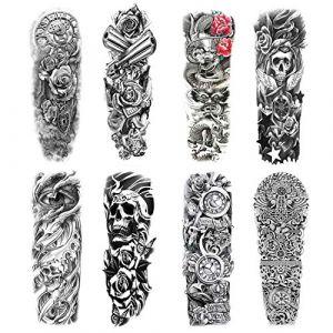 Konsait Tatouage temporaire pour homme femmes, faux Manchette tatouage Tattoo noir Autocollants body tattoo Étanche bras Tatouages éphémères, dragon, crâne, rose (8 feuilles) (Howaf, neuf)