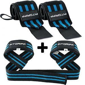 Fitgriff® Bande Poignet + Sangles de Levage de Musculation (Ensemble) / Protego Poignet + Sangle Sangle de Tirage Musculation/Wrist Wraps + Lifting Straps (Black/Blue) (Fitgriff, neuf)
