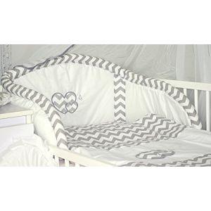 Baby's Comfort Parure de lit bébé ENSEMBLE DE 6 PIÈCES DE LITERIE CHOIX COULEURS HEARTS (s'adapte lit 140x70 cm, 5) (Baby's Comfort, neuf)
